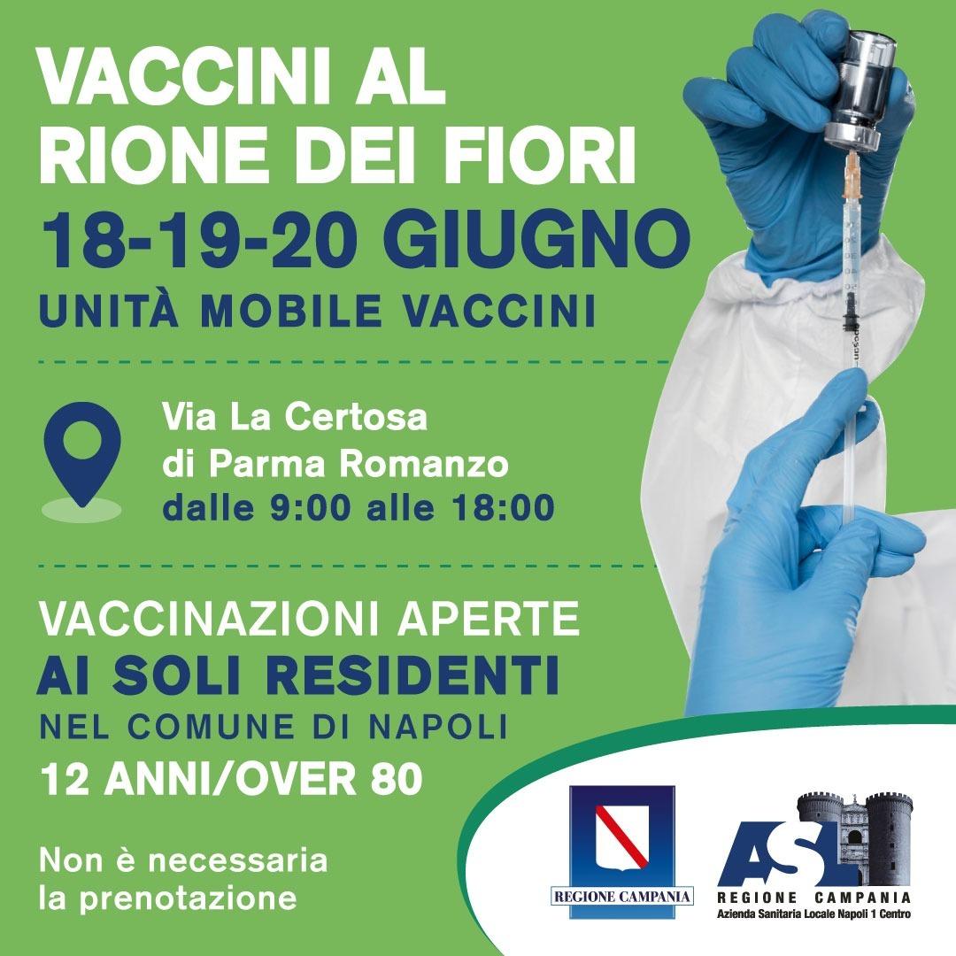 Vaccini al Rione dei Fiori 18-19-20 unità mobile vaccini