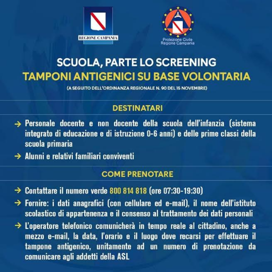 Scuola, parte lo Screening, tamponi antigenici su base volontaria