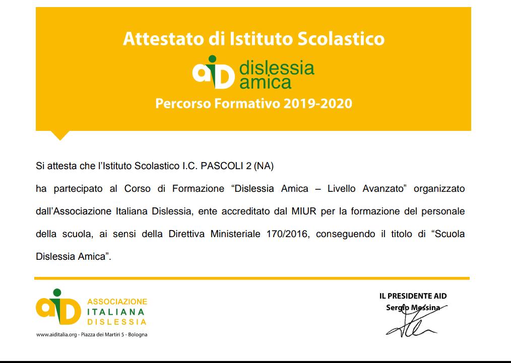 Certificazione DISLESSIA AMICA LIVELLO AVANZATO