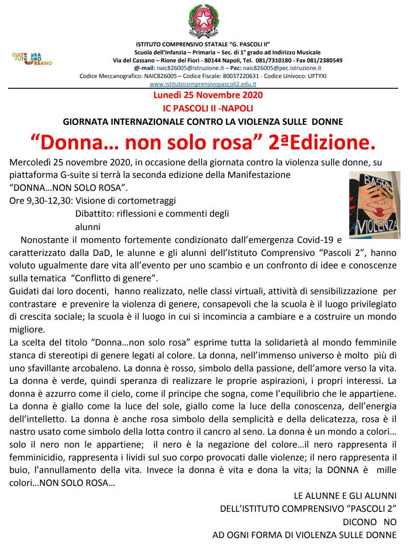 25 novembre donna non solo rosa 2 edizione